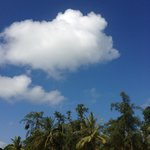 Clear blue sky with white fluffy cloud