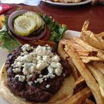a great burger made fresh with Gorgonzola cheese