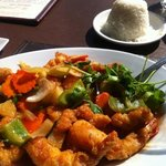 sweet and sour shrimp with jasmine rice