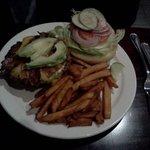 Medium-well burger with sweet potato fries