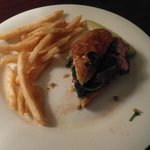 """Steak in the Grass"" Tenderloin, spinach and provolone sandwich.  Super yummy!!!"