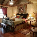 Catnip bedroom with king bed and custom linents