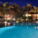 Ramada Santa Barbara Year-Round Heated pool in the evening
