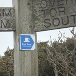 East Soar signs on the coastal path directing Walkers to the farm and Walkers Hut.