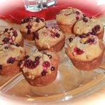 Homemade Alaskan breakfasts; moose sausage, wild cranberry/blueberry muffin, waffles...