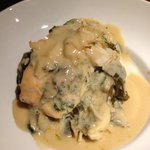 baked salmon w/spinach and crab over collards. served w/a side of rice. yummy!