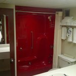 The big red shower/jetted tub