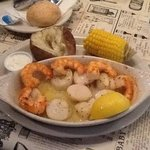 Broiled scallops with a side of shrimp. Yum yum.