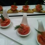 Salmon on Brioche and Salmon Dumpling