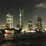 Bangkok view at night from the shuttle boat to Asiatique