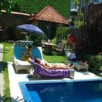 by swimming pool