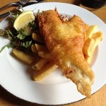 Haddock, chips and salad