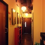 Rucksack Inn's always clean hallway.