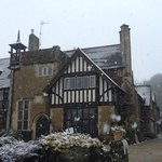 The hotel on our wedding day. Snow in March. UK weather!