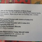 Sunday Supper Flyer.