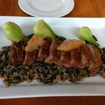 Pan seared duck breast with wild rice, bok choy, grapefruit & ginger jus