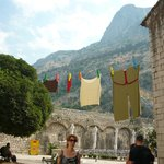 Large clothing hanging in the entrance to the fortress