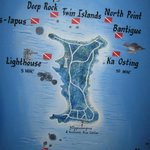 Map of the island displayed at the resort