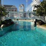 pool bridge and windmill