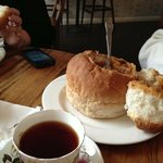 yummy soup in bread