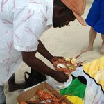 The lobster man preparing our lunch.  3 lobster for $20