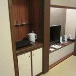 Closet and television area