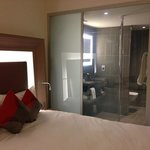 istandiğinde buzlu cama dönüştürülebilen cam duvarlı banyo
