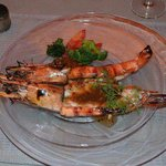Grilled tiger prawns with spicy black pepper garlic sauce served with seasonal vegetables