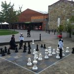 kids can play chess in the adjacent plaza