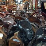 A small portion of the many saddles in this museum.