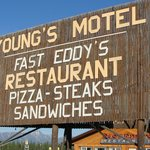 Sign of Young Motel and Fast Eddys Restaurant they are side by side
