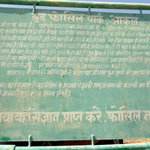 Sign board in Hindi decrribing the wood fossils