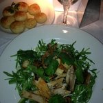 main- duck breast salad and dough balls