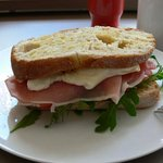 "a close up view of our homemade delicious ""the Adagio sandwich"" as we called it."
