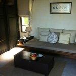lounge area in pool villa suite