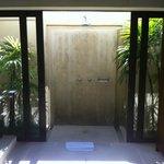 outdoor shower in pool villa suite