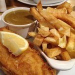 Cod fish and chips with curry sauce