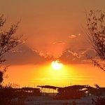 coucher de soleil depuis notre bungalow