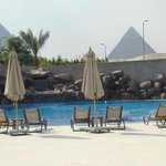 The Swimming Pool area gives you a view of the pyramids
