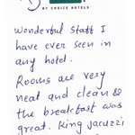 Kinds Words From Our Guest!
