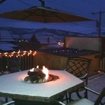 Back deck with hot tub, BBQ and firepit table