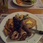 Kangaroo Burger and the BBQ Combo (Chicken Breast, Kangaroo Rump and Wild Boar Sausage)
