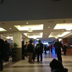 crowds of people at the hotel lobby