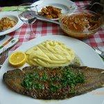 Sole + purée maison et mijoté de seiches + risotto