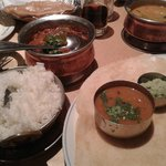 Boiled rice, aubergine curry, dosa with sambar and coconut  chutney