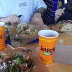 Fresh brisket tacos, steak nachos and chicken nachos