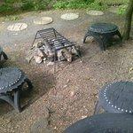 Log fire outside Mongolian ger