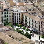 Plaza Nueva from the Alhambra, hotel street is a the top right