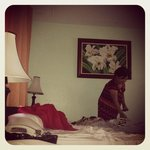 My mom can still do her normal house routine in our room. :-)