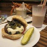 Santa Fe burger with fries and milkshake